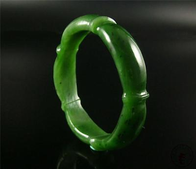 Fine Old Chinese Nephrite Spinach Green Jade Bracelet Bangle RUYI ON SURFACE