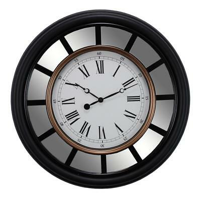 Wall Clock Oversized Analog Classic Round Decor Roman Numerals Mirror Accents