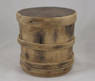 Small Early American Primitive Antique Pine Wood Firkin Bucket W Cover 1700's