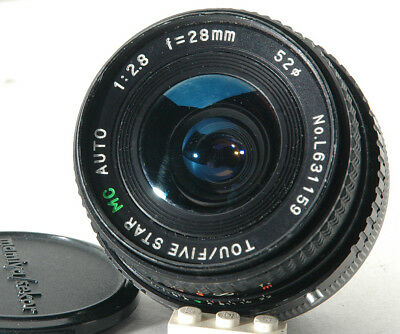 Tou/Five Star 28mm f2.8 w/a manual focus lens for Canon FD, adaptable to digital