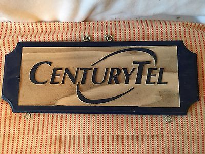 "Vintage Wooden 19""x7.25"" Centurytel Logo Wood Sign Telephone Plaque"