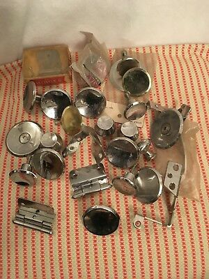 Vintage Lot of Chrome Concave Knobs Pulls Drawer Hinges Mid Century Modern ""