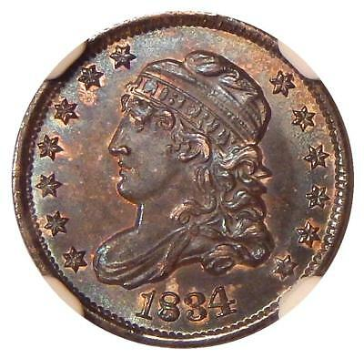 1834 3/INVERTED 3 H10c NGC MS-65 LM-1 ~ GEM CAPPED BUST HALF DIME VARIETY