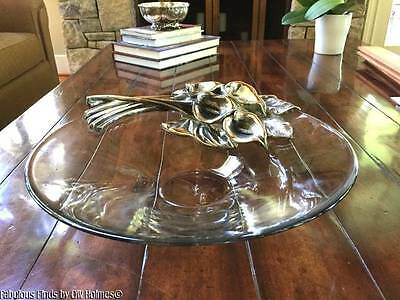 Huge MARIO CIONI Italy Crystal Glass & Sterling Silver CALLA LILY Center Bowl