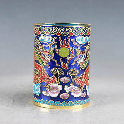 Chinese  Cloisonne Hand-made Two Dragons Brush Pots JTL1027