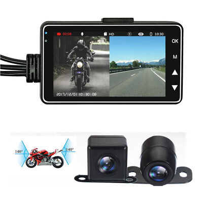 "Full HD Waterproof Double Lens Camera Sync Video 3""LCD Motorcycle DVR Recorder"