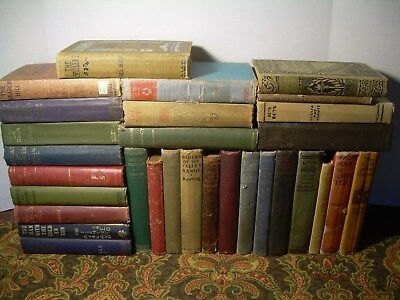 Box Lot of 30 Vintage Old Collectable Distressed Antique Books - Decor / Staging