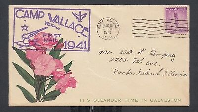 USa 1941 WWII DPO PATRIOTIC COVER CAMP WALLACE TEXAS TO ROCK ISLAND ILLINOIS