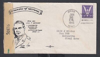Usa 1945 Wwii Censored Patriotic Cover Oran Iowa To Margarita Canalzone