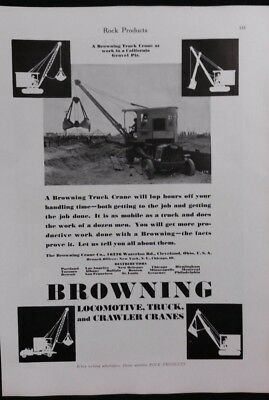 Vintage Ad 1920's BROWNING LOCOMOTIVE, TRUCK, CRAWLER CRANES & L B FOSTER Co #15