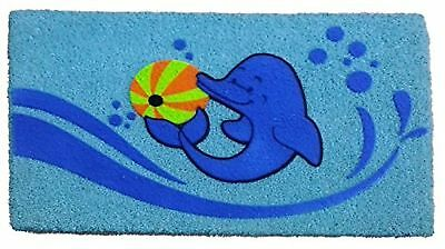 Imports Decor Dolphin Beach Ball Vinyl Backed Coir Doormat with Flocked P... New