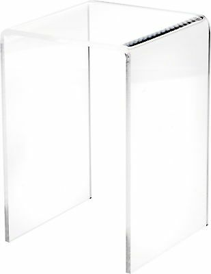 """Plymor Brand Clear Acrylic Tall Square Riser, 7.5"""" H x 5"""" W x 5"""" D (3/16""""... New"""