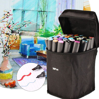 36 Color Twin Tip Marker Pen Touch Copic Sketch Art Painting Drawing with Bag