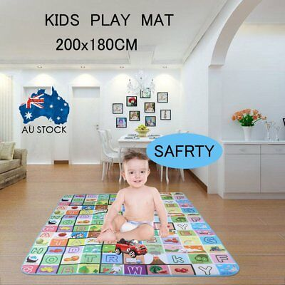 2mx1.8m XXL Nontoxic Baby Kids Play Mat Floor Rug Picnic Cushion Crawling Mat S