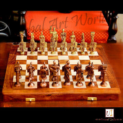 """Brass & Wood Unique Hand Made Wooden Art Chess Board 14""""X14"""" Folding Style CB 05"""