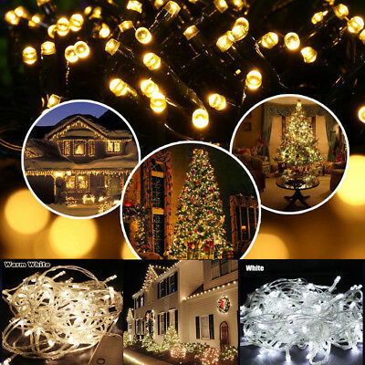 300/400/500 LED Warm White Fairy Christmas String Strip Lights Party Outdoor