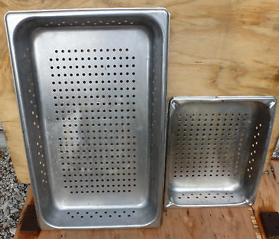 "LOT 2 Perforated Stainless Steel Full & 1/2 Size 2.5"" Deep Steam Table Pan half"