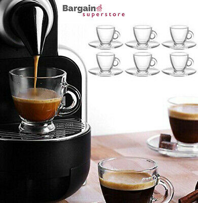 12pc Table Tea Coffee Cappuccino Espresso Drink Glass Cup Mug & Saucer Base Set