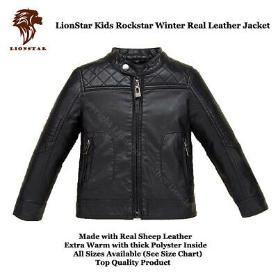 Lionstar Unisex Kids Rockstar Top Quality Real Leather Warm Winter Jacket