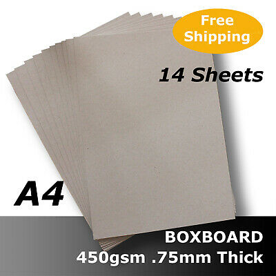 14 x BoxBoard Backing Card 450gsm .75mm A4 Grey 100% ReCycled #B1208 #D1