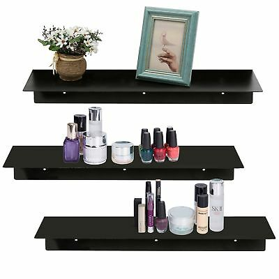 17 inch Contemporary Wall Mounted Floating Metal Shelves, Set of 3, Gloss... New