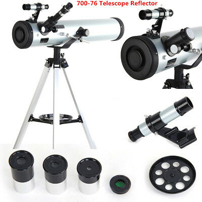 700x76mm Reflector Telescope Beginner Tripod Eyepieces Dual Purpose Astronomical