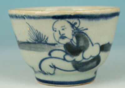 Chinese Old Porcelain Handmade Painting Elder Collect Statue Tea Cup Bowl