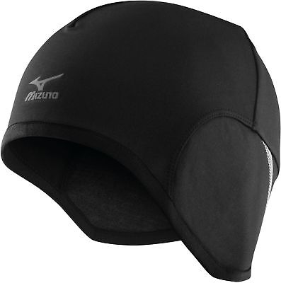Mizuno Warmer Running Pip Beanie Mens Womens Thermal Winter Hat Black