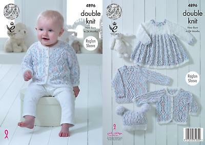 f73f47f64 KING COLE 4896 Knitting Pattern Baby Dress Cardigan Sweater Hat ...