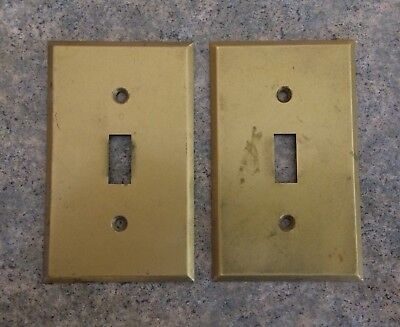 Two Vintage GE General Electric Brass Light Switch Plates Covers USA