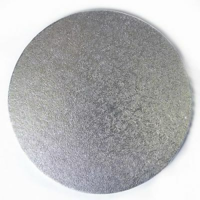 """*10"""" Silver Round 3mm Thick Cake Board Pack of 5 Culpit, Party, Celebrations"""