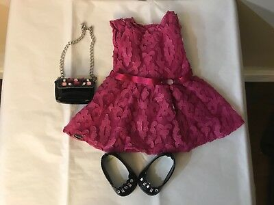 American Girl Truly Me MERRY MAGENTA Outfit Party Dress,Gem Purse,Shoes,