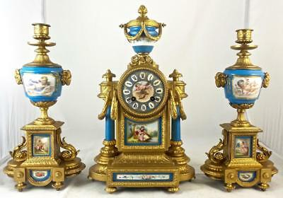 Antique French Japy Freres 19th c mantle clock garniture set & Sevres porcelain
