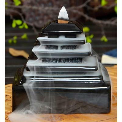 Ceramic Glaze Backflow Incense Burner Censer Cones Holder Smoke Tiantan