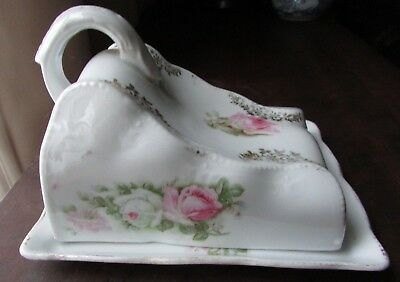 Vintage Antique Covered Cheese Dish Made in Germany Pink Roses Butter Dish