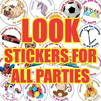 35x NON PERSONALISED Birthday Party Bag Stickers Sweet Cone VARIOUS DESIGNS 542