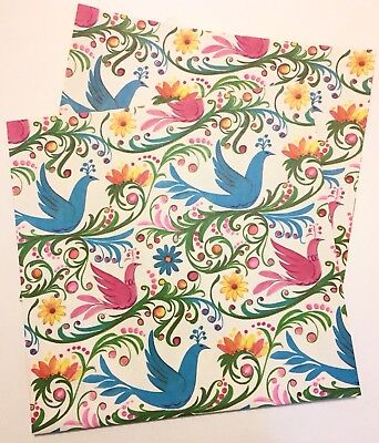 2 Sheets Vintage Mod Bird Flower Power Wrapping Paper Gift Wrap 1960s Lot #3