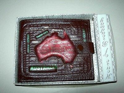 Vintage Tooled Leather Australia Map Wallet Calf Leather,New in Original Box