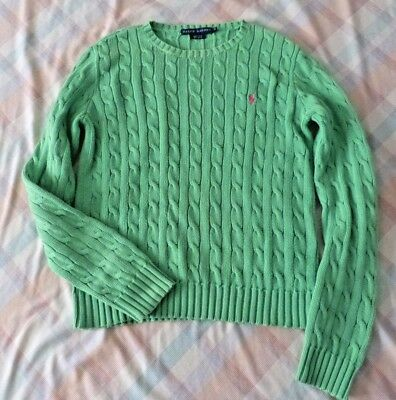 Girl's RALPH LAUREN POLO Knit Sweater, green, medium, winter sweater