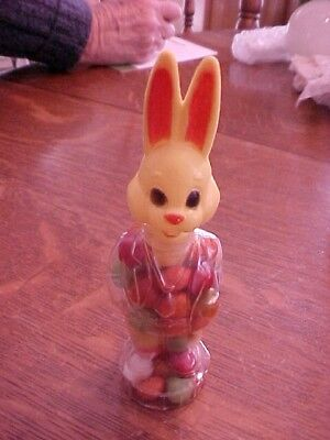 candy container plastic rabbit. great condition w/ original candy. never opened.