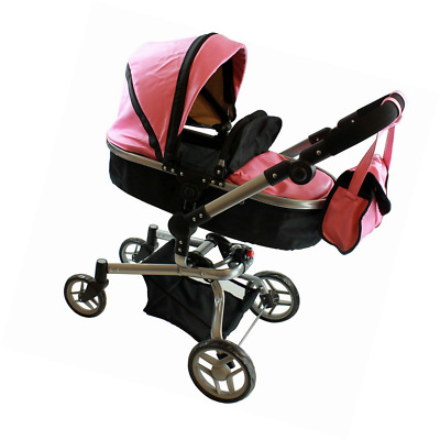 """2 In 1 Deluxe Leather Doll Stroller Extra Tall 32""""H Pink Girl Play Gift"""