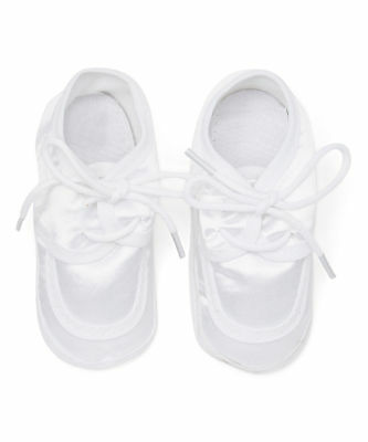 Baby Boy Infants Crib Shoes/Satin Christening/Baptism/White/Laces Sizes 0,1,2,3