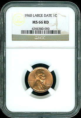 1960 Large Date Lincoln Cent Ngc Ms 66 Red 2Nd Finest Grade .