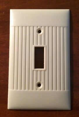 Vintage Sierra Electric Art Deco Ivory Ribbed Lines Light Switch Cover Plate