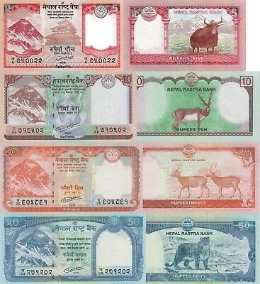 Nepal 4 Note Set: 5, 10, 20 & 50 Rupees (2017) – All pNew UNC