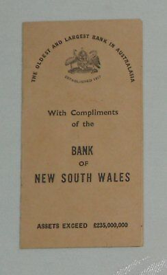 1947 Australian  Bank Of New South Wales - U.s. Notes & Coin Exchange Rate Card