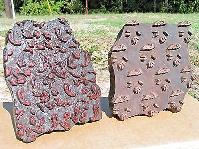Pair of Antique Hand Carved Fabric Stamp Ink Blocks from Nepal 24 25