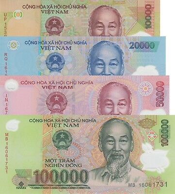 Vietnam 4 Note Set: 10000 to 100000 Dong (2015/2016) - p119/p120/p121/p122 UNC