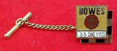 Bowes Seal Fast Automotive Products 35 Years 10K 2 DWT Gold W/ Diamond Tie Tack