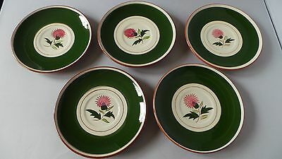 STANGL pottery THISTLE pattern 8 Cups 5 Saucers Mid-Century Pottery Pink Green
